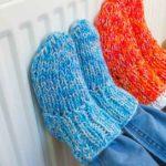 Warm socks by a heater
