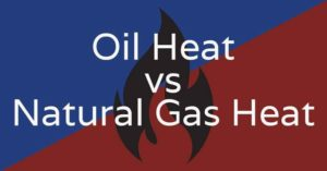 """A background image of a cartoon flame with the text overlay """"Oil Heat vs. Natural Gas Heat""""."""