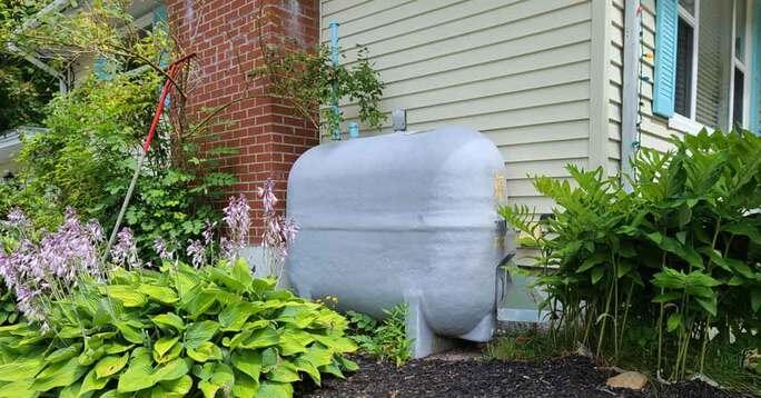 An oil tank on a residence.
